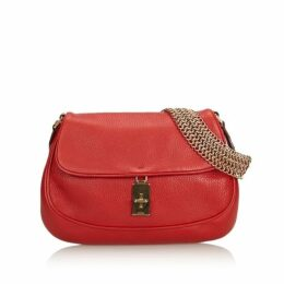 Prada Red Leather Chain Baguette