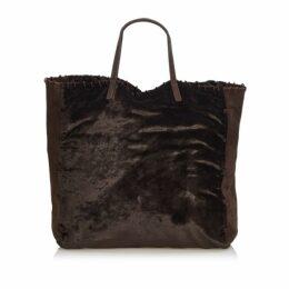 Prada Brown Velour Tote Bag