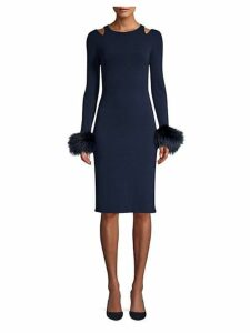 Tabitha Dyed Fox Fur Trimmed Sheath Dress