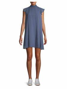 Pleated Mockneck Shift Dress