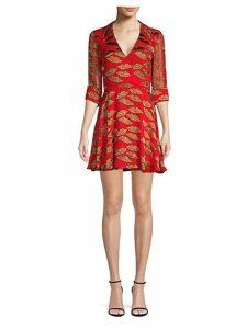Catina Leopard Print Faux Wrap Dress