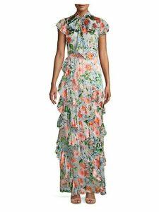 Lessie Floral Print Ruffled Maxi Dress