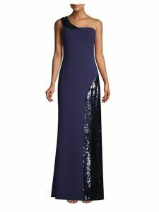 Crepe & Sequin One-Shoulder Gown