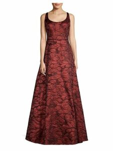 Sleeveless Jacquard A-Line Gown