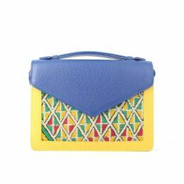 Mykilim - Alouane Handbag Bi-Color Yellow Bleu With Strap