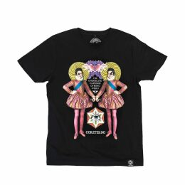 PAISIE - V-Neck Polka Dot Blouse With Ruffles In Coral & White