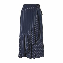 Baukjen - Harriet Stripe Skirt In Blue & Slim White Stripe