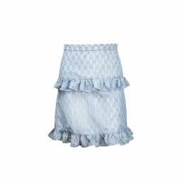 Vivienne Hu - Dusty Blue Texture Skirt With Raffle