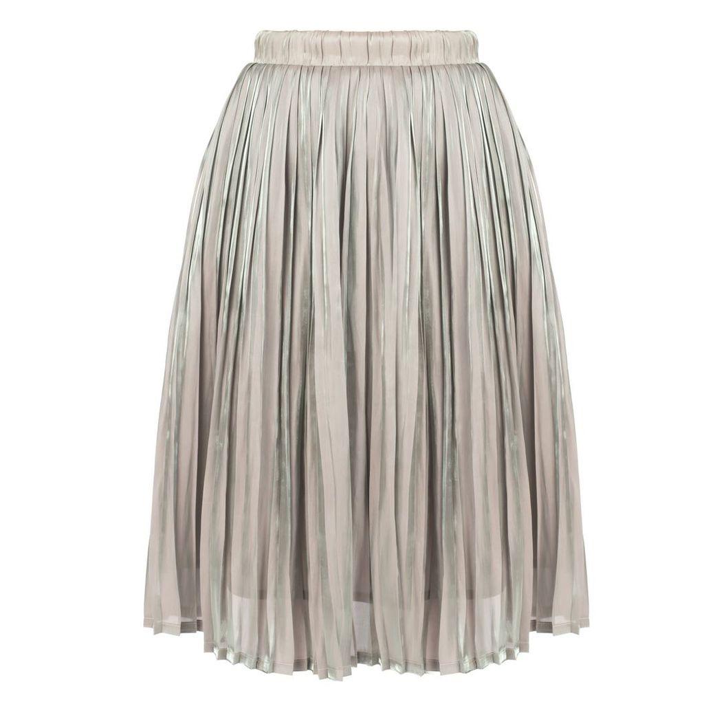 MUZA - Pleated Knee-Length Skirt In Grey