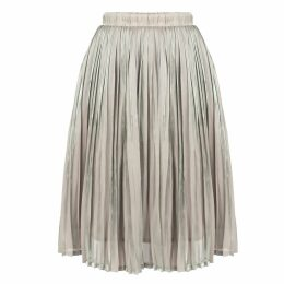 MUZA - Pleated Knee-Length Skirt In Grey