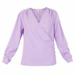 MUZA - Long Sleeve Wrap Top In Lilac
