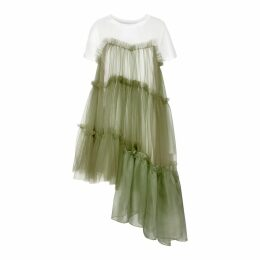 IN. NO - Raven Jersey Tulle Organza Army Dress