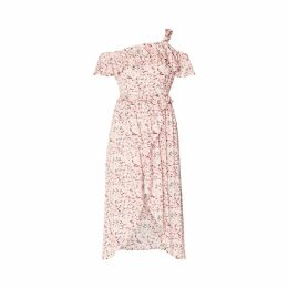 PAISIE - Floral Wrap Dress With Knot Shoulder & Ruffle Overlay In Pink Floral