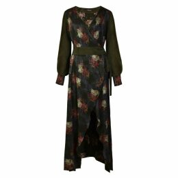 Sarvin - Verdant V-Neck Jacquard Wrap Maxi Dress With Side Slit