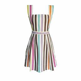 McVERDI - Colourful Tivoli Inspired Dress Brown