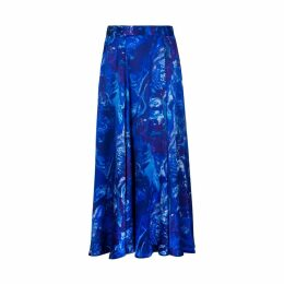 Isabel Manns - Reversible Emma Silk Satin Skirt In Ocean Water