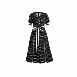 Rumour London - Jennifer Polka Dot Flared Cotton Dress With Striped Details & Slits