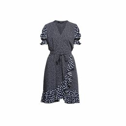 Rumour London - Myla Ruffled Wrap Dress With Short Sleeves In Floral Print