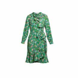 Rumour London - Abby Ruffled Silk Wrap Dress In Green Floral Print