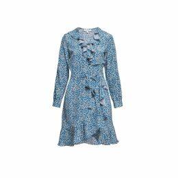 Rumour London - Abby Ruffled Silk Wrap Dress With Cherry Blossom Print
