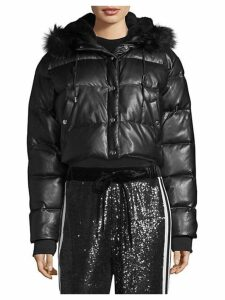 Faux Fur-Trimmed Cropped Puffer Coat