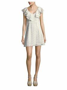 Massey Lace Ruffle V-Neck Dress