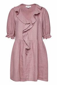 Velvet Harriet Linen Mini Dress with Ruffles
