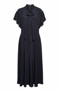 Escada Dehnia Silk-Blend Dress with Ruffles