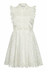 Self-Portrait Broderie Anglaise Mini Dress with Cotton