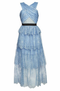Self-Portrait Sleeveless Maxi Dress with Lace