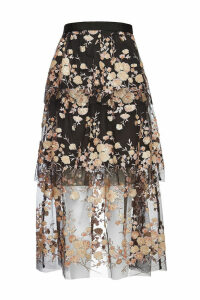 Self-Portrait Midi Skirt with Sequins and Mesh