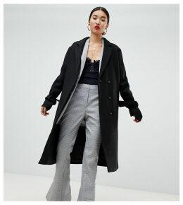 Na-kd tie sleeve tailored coat in black