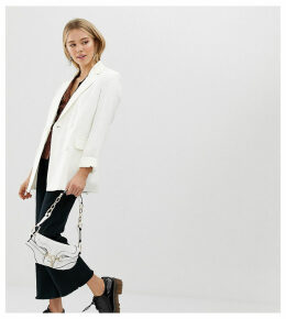 Bershka longline double breasted blazer in white
