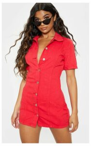 Red Button Front Short Sleeved Denim Dress, Red