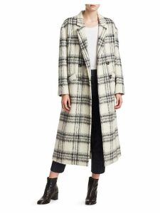 Maya Plaid Wool-Blend Boxy Coat