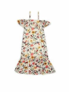 Little Girl's & Girl's Cold-Shoulder Floral Dress