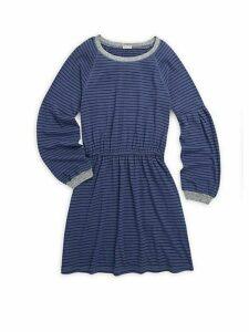 Girl's Striped Jersey Midi Dress