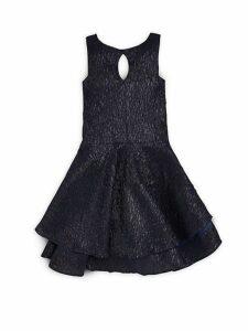 Girl's Textured Jacquard Tiered Dress