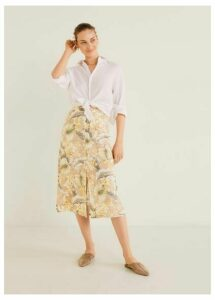 Printed button skirt