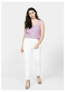 Check linen-blend top