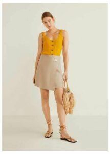 Linen-blend wrap skirt