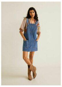 Pocket denim pinafore dress