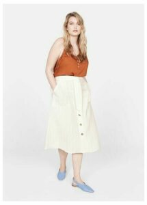 Striped linen-blend skirt