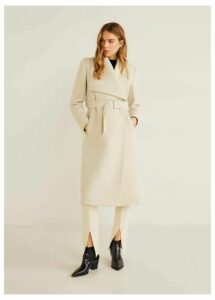 Wide lapel wool-blend coat