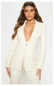 Stone Structured Suit Woven Blazer, White
