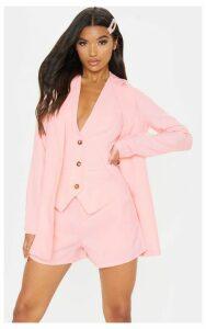 Pastel Pink Button Detail Oversized Woven Blazer, Pastel Pink