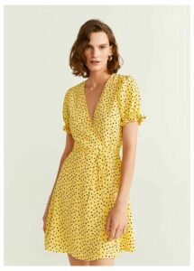 Wrap polka-dot dress