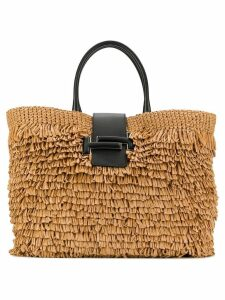 Tod's fringed straw tote - Neutrals