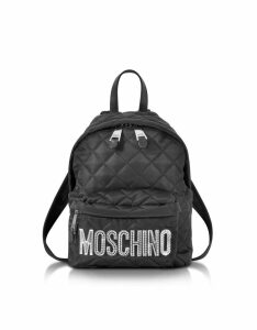 Moschino Designer Handbags, Black Quilted Nylon Small Backpack w/Silver Logo