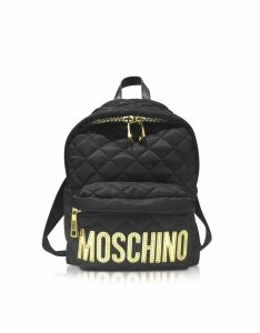 Moschino Designer Handbags, Black Quilted Nylon Small Backpack w/Golden Logo